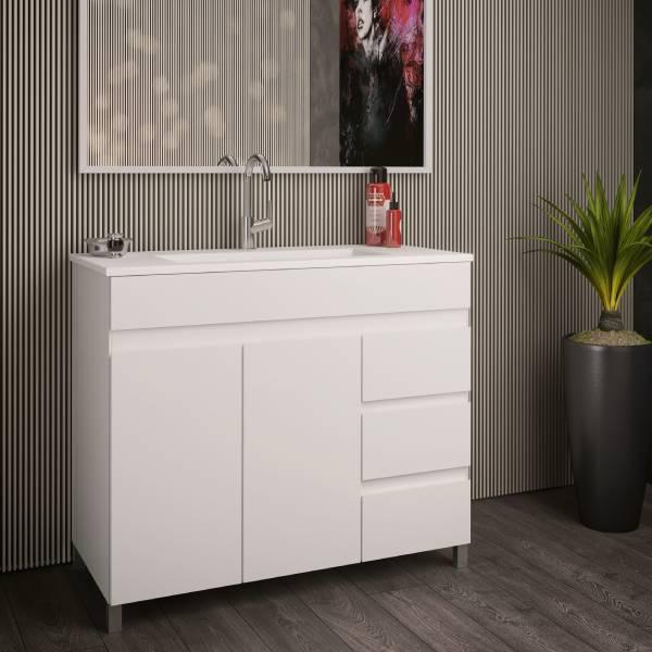 ארון אמבטיה עומד, מגירות + דלתות, צבע אפוקסי דגם דורות