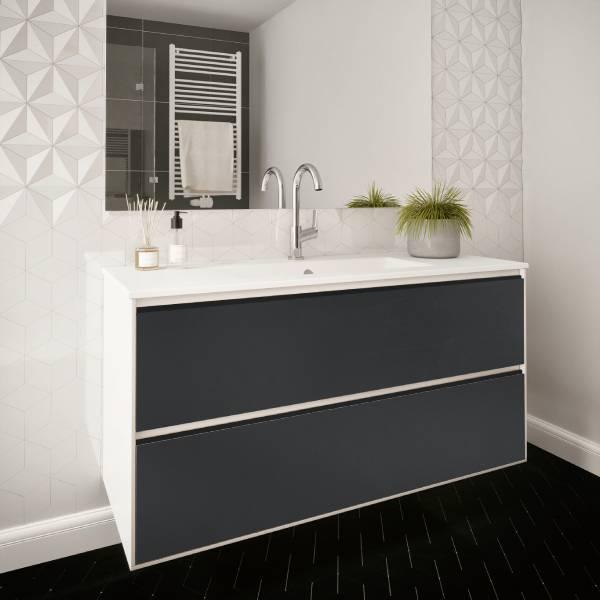 ארון אמבטיה תלוי / מרחף, צבע אפוקסי, חזית פורניר דגם גדות