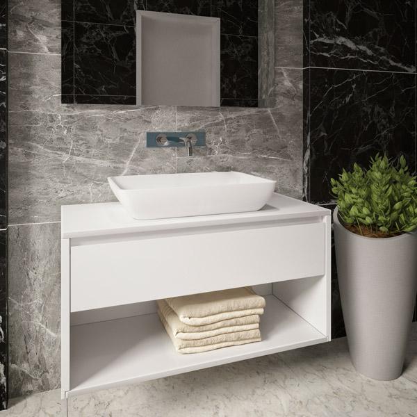 ארון אמבטיה תלוי / מרחף, צבע אפוקסי דגם בארי