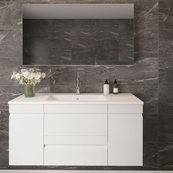 ארון אמבטיה תלוי / מרחף דלתות + מגירות צבע אפוקסי דגם גלאון