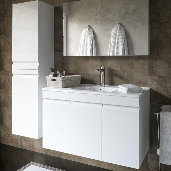 ארון אמבטיה תלוי / מרחף, צבע אפוקסי דלתות דגם גונן