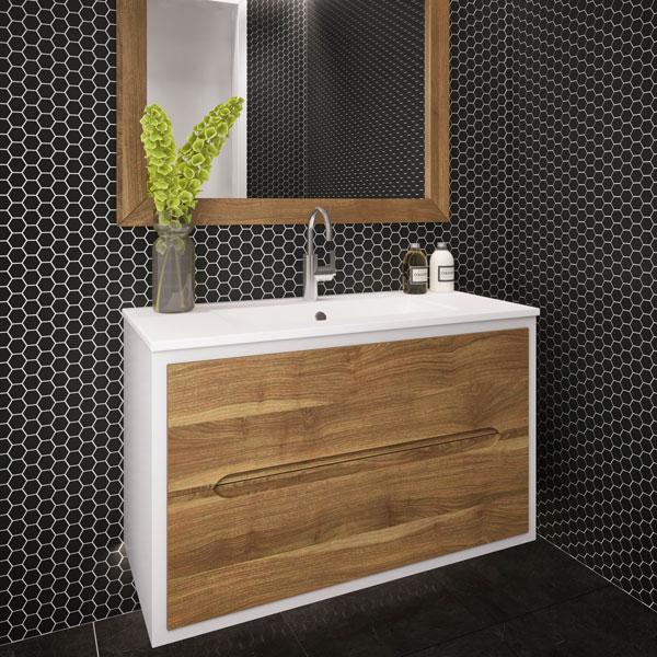 ארון אמבטיה תלוי / מרחף, צבע אפוקסי עם חזית עץ מלא דגם לוטן