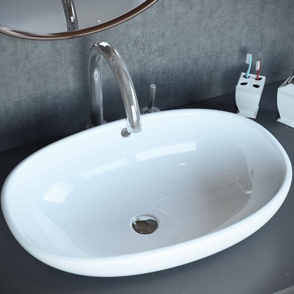 כיור מונח מבריק לארון אמבטיה דגם שיקמה