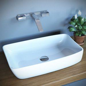 כיור מונח מבריק לארון אמבטיה דגם נוקד