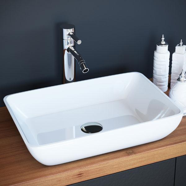 כיור מונח מבריק לארון אמבטיה דגם הדר