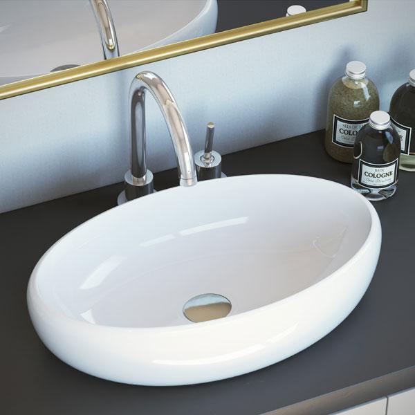 כיור מונח מבריק לארון אמבטיה דגם גזר