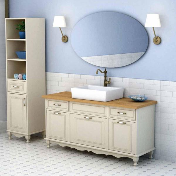 ארון אמבטיה כפרי עומד צבע אפוקסי פרובנס דגם נחשון