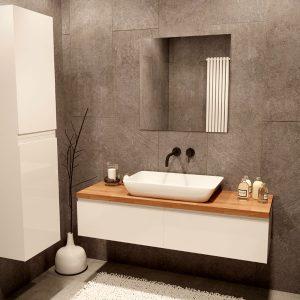 ארון אמבטיה מגירות תלוי, צבע אפוקסי דגם אלומות