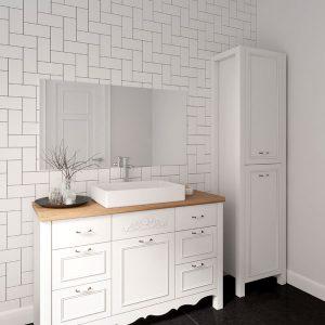 ארון אמבטיה כפרי עומד צבע אפוקסי פרובנס דגם אלון