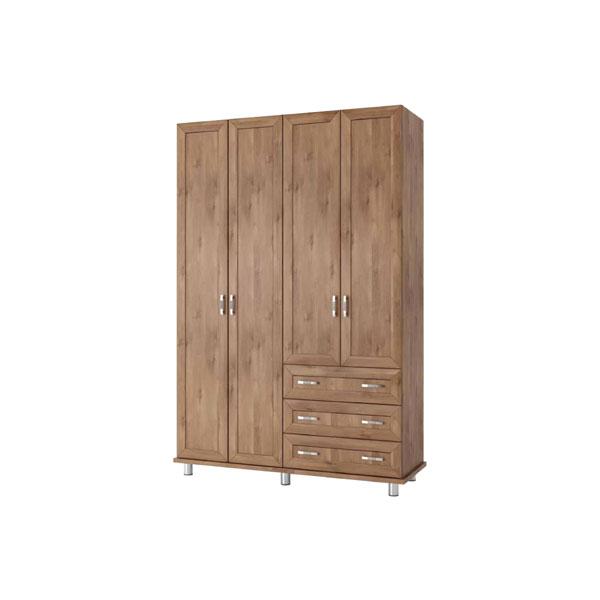 ארון בגדים 4 דלתות, 3 מגירות ברוחב 160 דגם לבנון