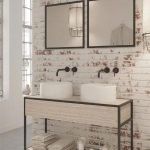 ארון אמבטיה יוקרתי פורניר / אפוקסי בשילוב קונסטרוקצית מתכת דגם ארבל