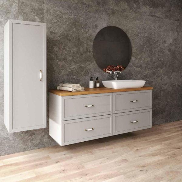 ארון אמבטיה תלוי / מרחף צבע אפוקסי דגם מצדה