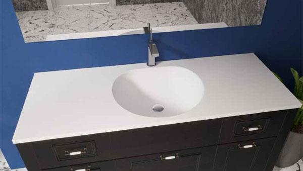 כיור ומשטח אקרילי לארון אמבטיה דגם חצב אקרילי