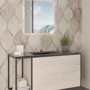 ארון אמבטיה יוקרתי פורניר / אפוקסי בשילוב מתכת דגם יריב