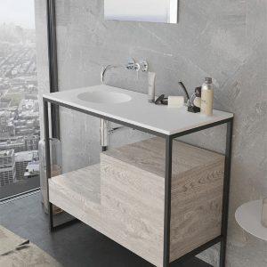 ארון אמבטיה יוקרתי פורניר / אפוקסי בשילוב קונסטרוקצית מתכת