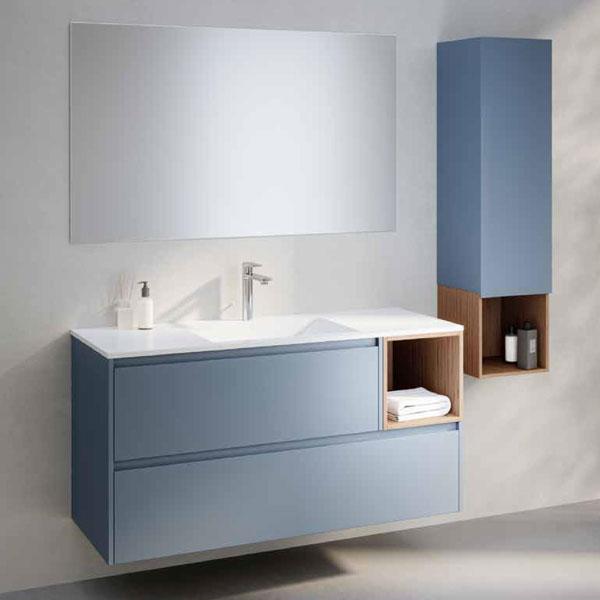ארון אמבטיה תלוי צבע אפוקסי, בשילוב תא פתוח פורניר, דגם יהל