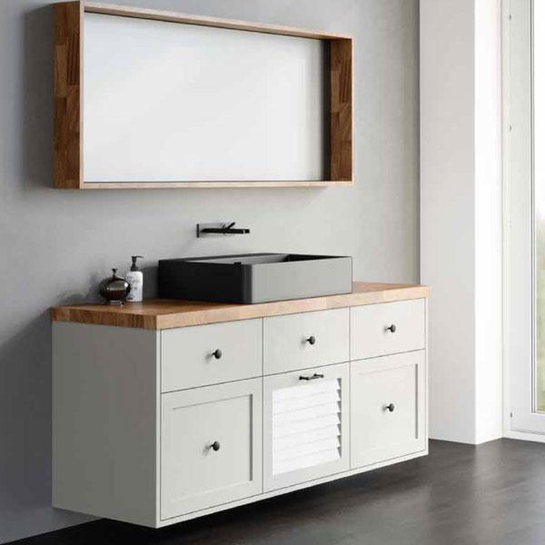 ארון אמבטיה תלוי, אפוקסי כולל משטח בוצ'ר עץ אלון דגם כנרת