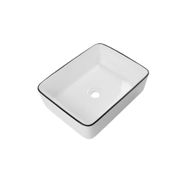 כיור אמבטיה לבן מבריק, פס שחור דגם כרמן