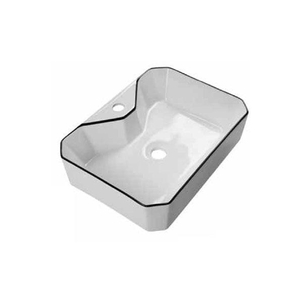 כיור אמבטיה לבן מבריק, פס שחור דגם לירי