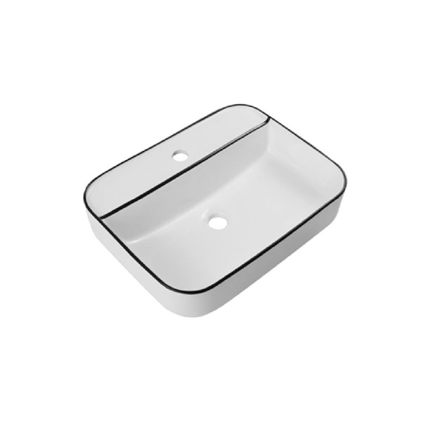 כיור אמבטיה לבן מבריק, פס שחור דגם מיתר