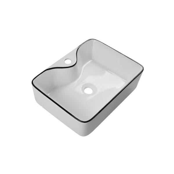 כיור אמבטיה לבן מבריק, פס שחור דגם מינור