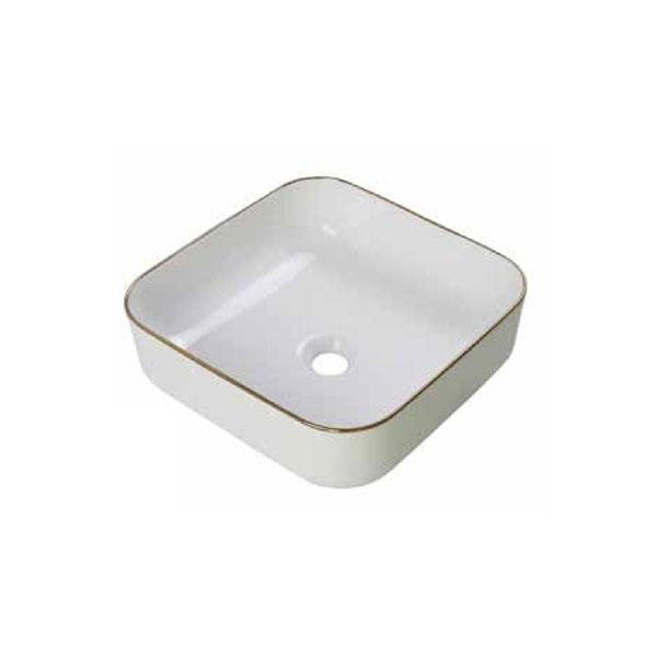 כיור אמבטיה לבן מבריק, פס מוזהב דגם נירן