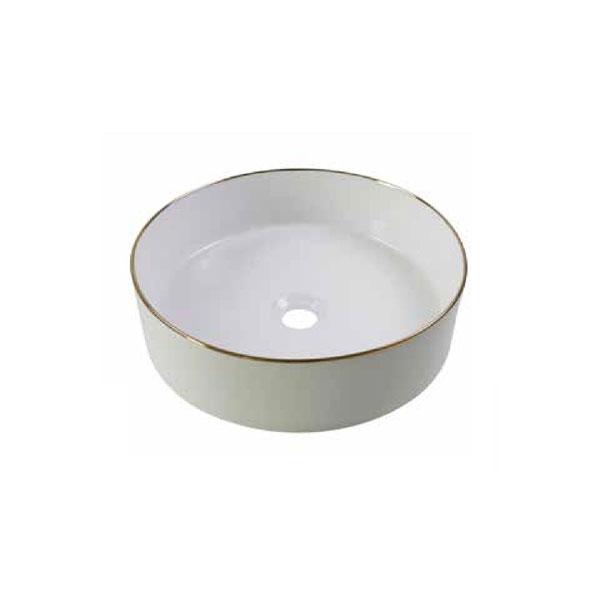 כיור אמבטיה לבן מבריק פס מוזהב דגם טארין