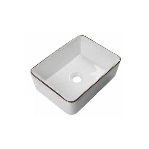 כיור אמבטיה לבן מבריק פס מוזהב דגם צופר