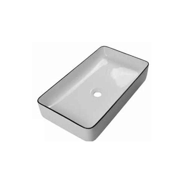 כיור אמבטיה לבן מבריק פס שחור דגם ויולה