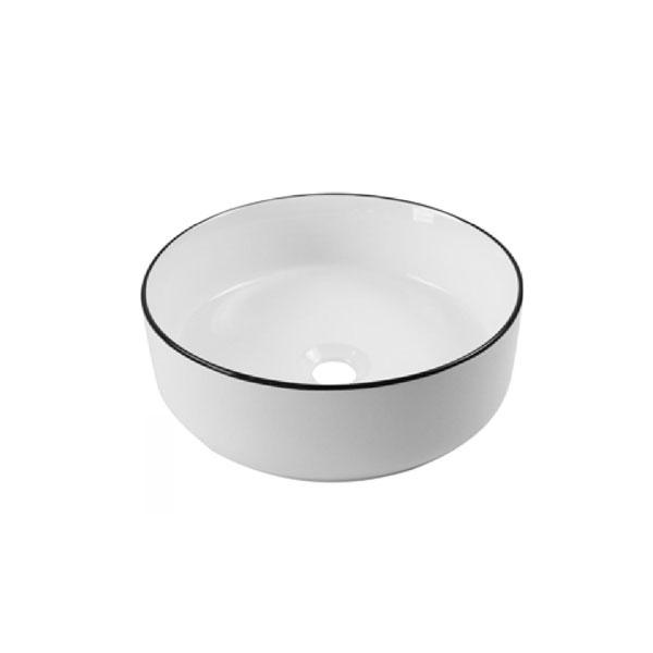 כיור אמבטיה לבן מבריק פס שחור דגם זמיר