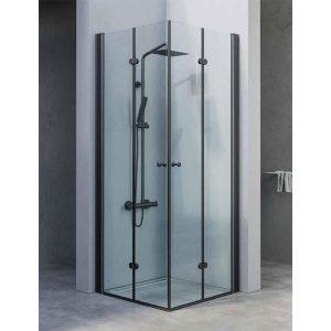 מקלחון פינתי הרמוניקה יוקרתי בגודל סטנדרטי, פרזול שחור דגם מיכל