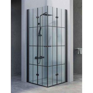 מקלחון פינתי הרמוניקה יוקרתי בגודל סטנדרטי, פרזול שחור דגם מיכל פסים