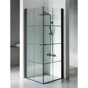 מקלחון יוקרתי בגודל סטנדרטי, פרזול שחור דגם מורן בגימור פסים