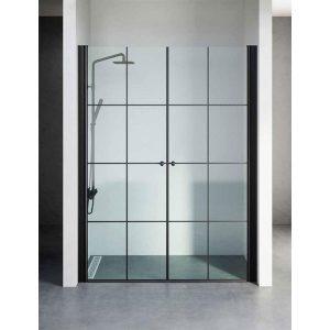 מקלחון חזית יוקרתי בגודל סטנדרטי, פרזול שחור דגם נטלי פסים
