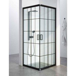 מקלחון יוקרתי בגודל סטנדרטי, פרזול שחור דגם שלומית פסים