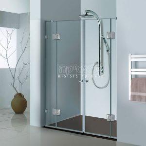 """מקלחון בהתאמה אישית חזיתי 8 מ""""מ צירים דגם אגם 814"""