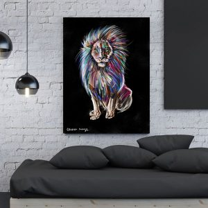 lion color הדפס על קנווס במגוון גדלים של האמנית מאיה עזרן