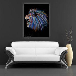 אריה שואג ציבעוני הדפס על קנווס במגוון גדלים של האמנית מאיה עזרן