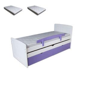 חבילת מיטת יחיד נפתחת, עץ מלא + 2 מזרני נוער/ילד תוצרת איטליה
