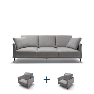 מערכת ישיבה איכותית לסלון תוצרת איטליה דגם BARTH סט תלת + 2 כורסאות יחיד בהנחה
