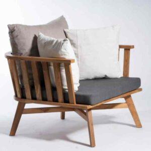 כורסא מעוצבת מעוגלת מבסיס עץ טיק – David