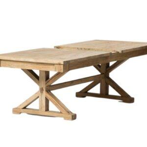 שולחן אוכל רגל איקס נפתח עץ טבעי