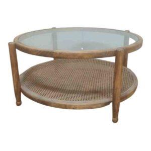 שולחן סלון עגול עם מדף גוף אלון