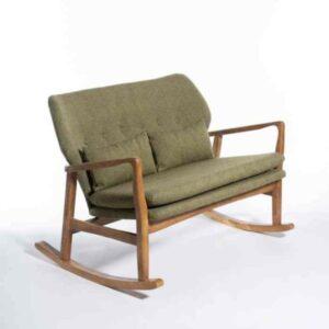 """ספת נדנדה זוגית ירוקה דגם KYLA עץ מלא ברוחב 118 ס""""מ"""