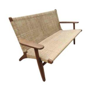 """ספה זוגית מעץ טיק משולב ראטן  JEPARA ברוחב 133 ס""""מ"""