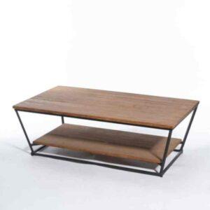 שולחן סלון טרפז מעוצב עץ טיק מלא MALAGA