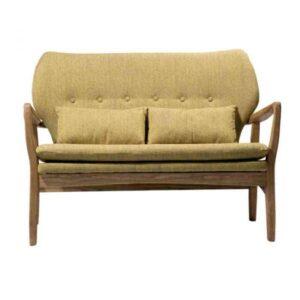 """ספה זוגית Kyla חרדל עץ מלא רוחב 117 ס""""מ"""