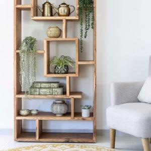 ספריה גאומטרית מעוצבת עשויה עץ מלא