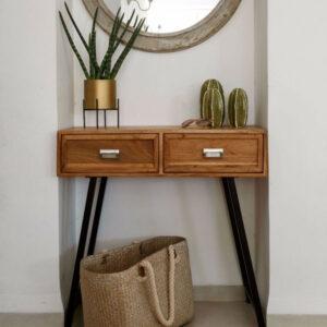 קונסולה עם 2 מגירות עץ מלא ו רגלי מתכת דגם מקסיקו