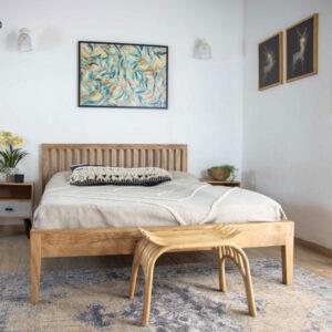 מיטה זוגית עץ מלא, דגם רומא